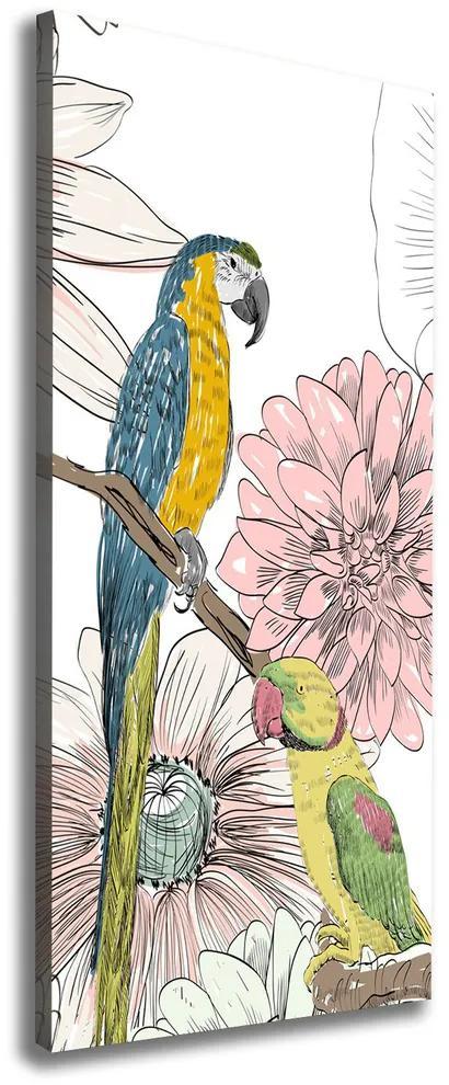 Tablouri tipărite pe pânză Papagalii și flori