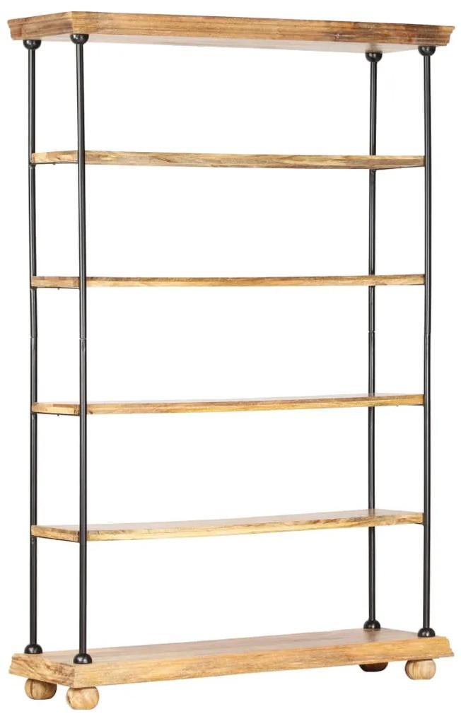 286267 vidaXL Bibliotecă cu 5 rafturi 120x35x180 cm, lemn masiv mango și oțel