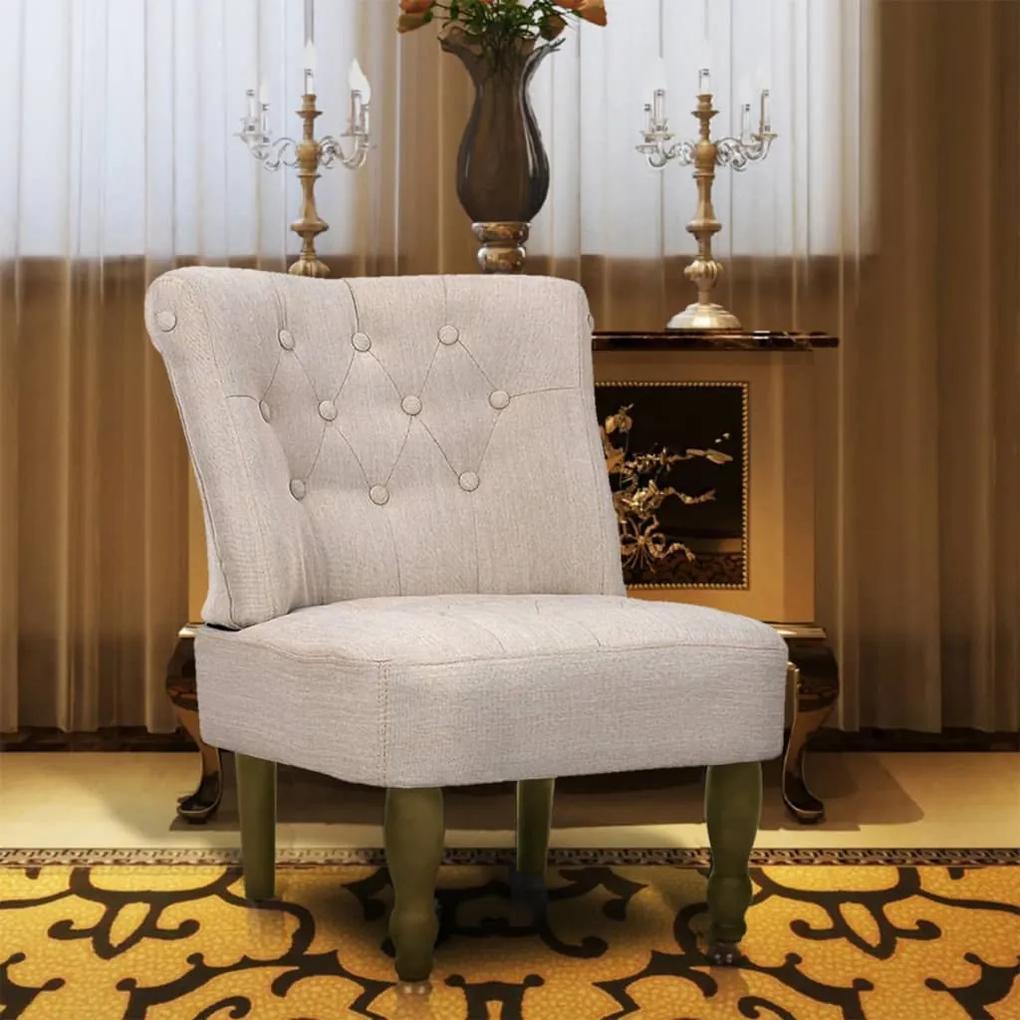 240286 vidaXL Scaun în stil franțuzesc, crem, material textil