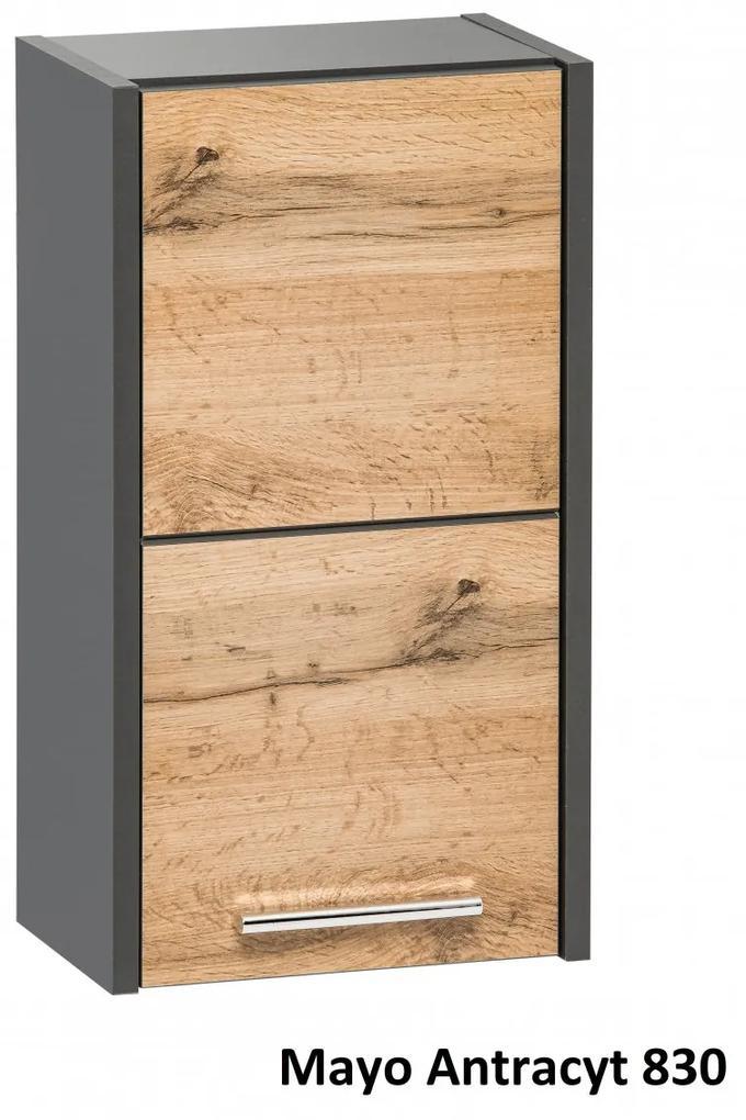 Cabinet de baie Mayo Antracit Stejar votans, antracit, 19 cm, 30 cm, 55 cm, Corp suspendat cu usa