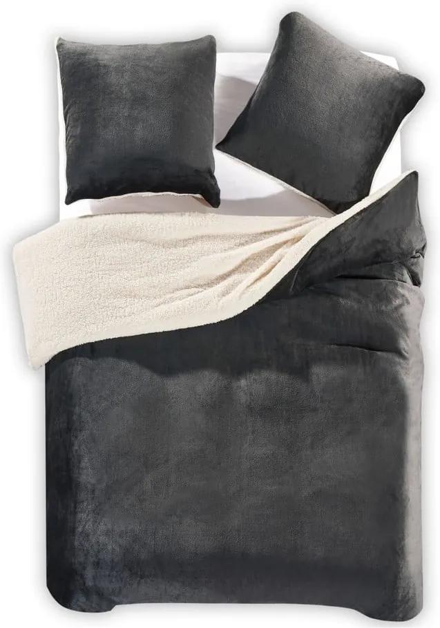 Lenjerie de pat din microfibră DecoKing Teddy, 155 x 220 cm, gri închis
