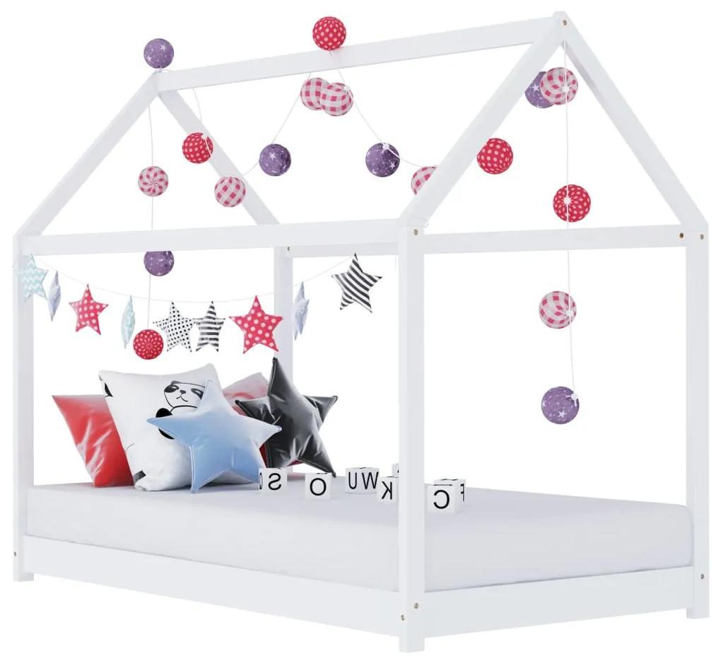 283349 vidaXL Cadru pat de copii, alb, 70 x 140 cm, lemn masiv de pin