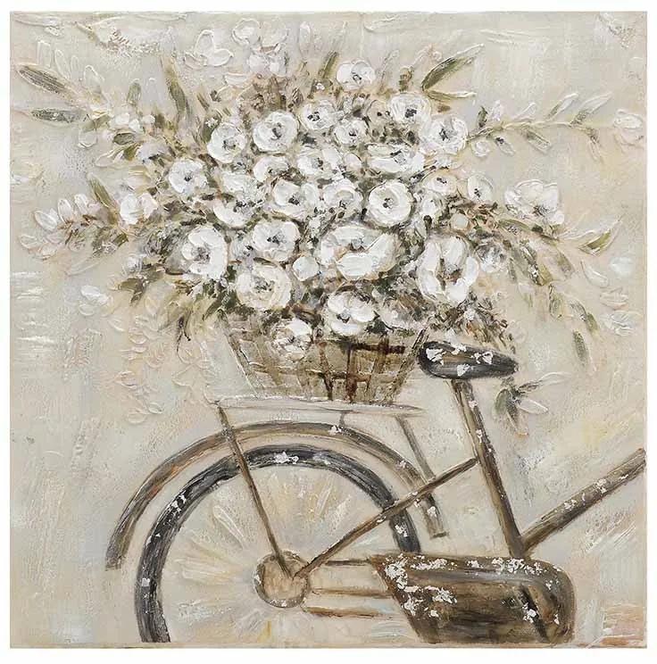 Tablou Pictat Bike/White Flowers 80x80