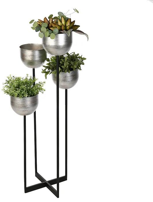 Suport flori Quattro, metalic, argintiu negru, 97x36x36 cm