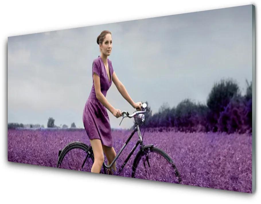 Tablou pe sticla acrilica Femeia biciclete Meadow Oameni roz