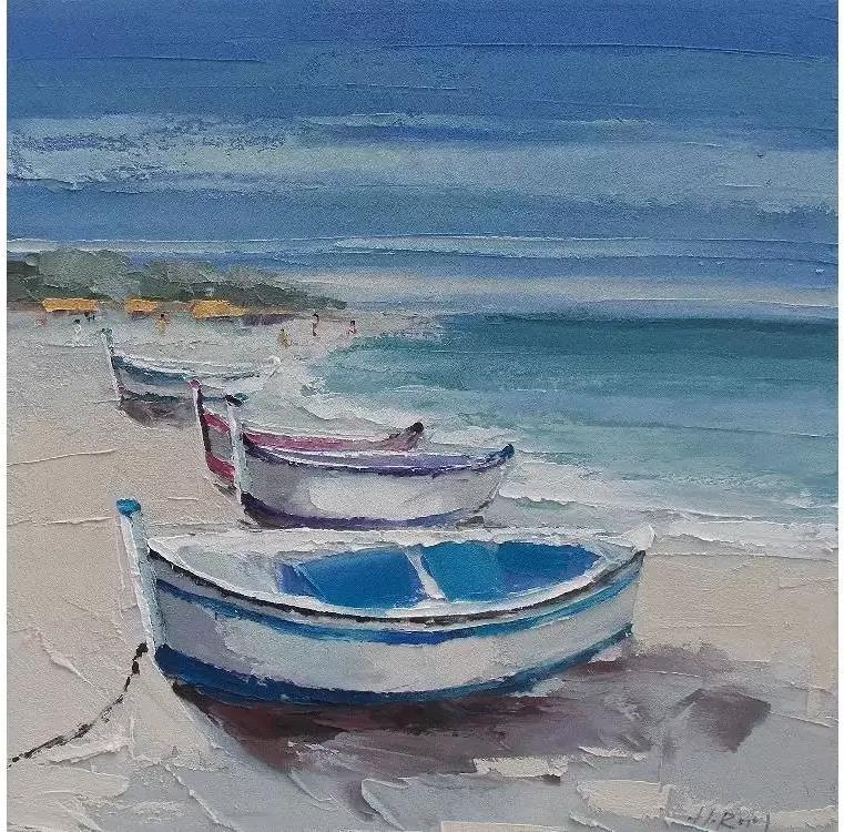 Tablou pictat manual Sea and Boats 100 x 100 cm