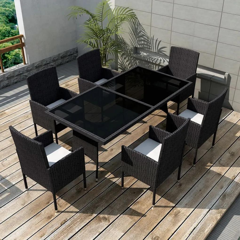 42537 vidaXL Set mobilier de exterior cu perne, 7 piese, negru, poliratan