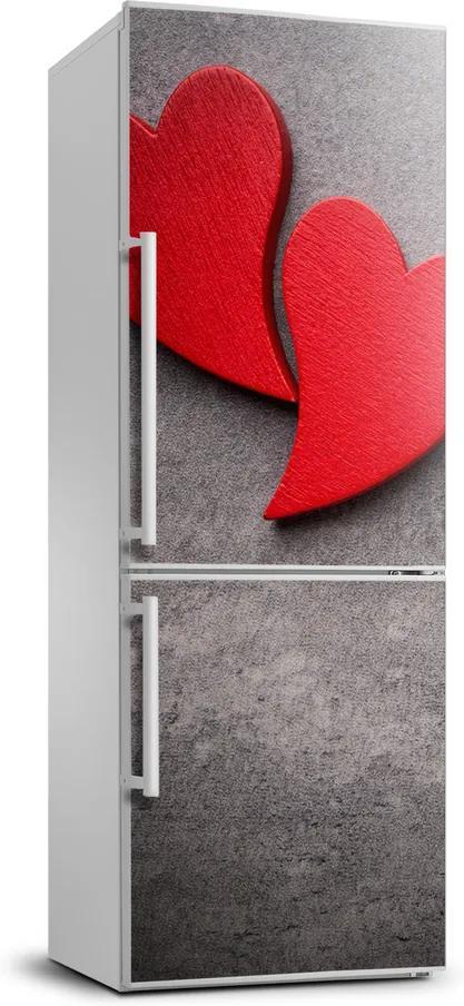 Autocolant pe frigider Inimi roșii