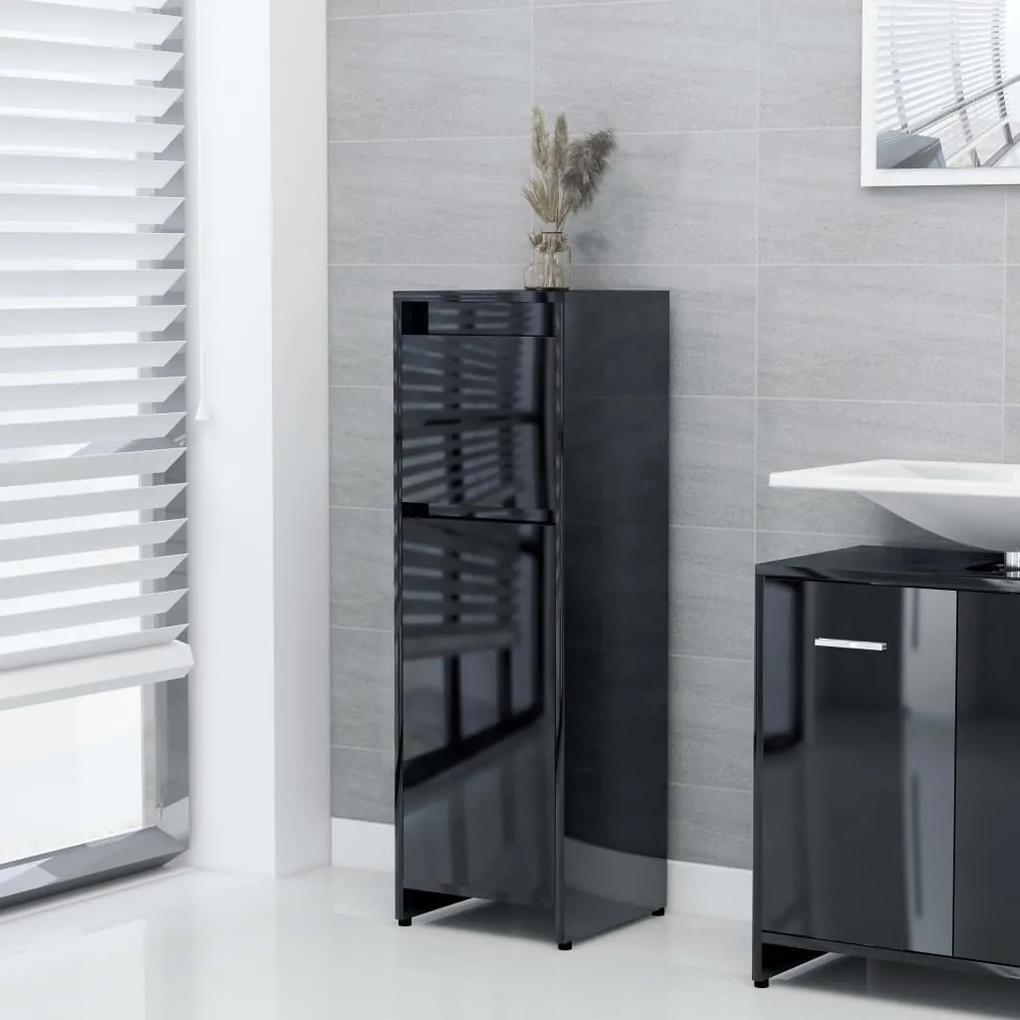 802667 vidaXL Dulap de baie, negru extralucios, 30 x 30 x 95 cm, PAL