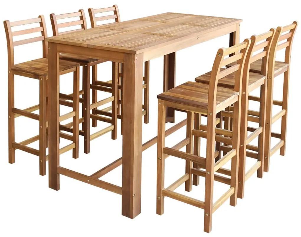 246671 vidaXL Set masă și scaune de bar, 7 piese, lemn masiv de acacia