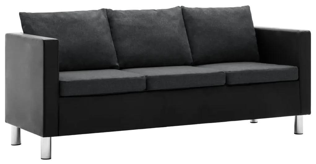 247169 vidaXL Canapea cu 3 locuri, piele ecologică, negru și gri închis