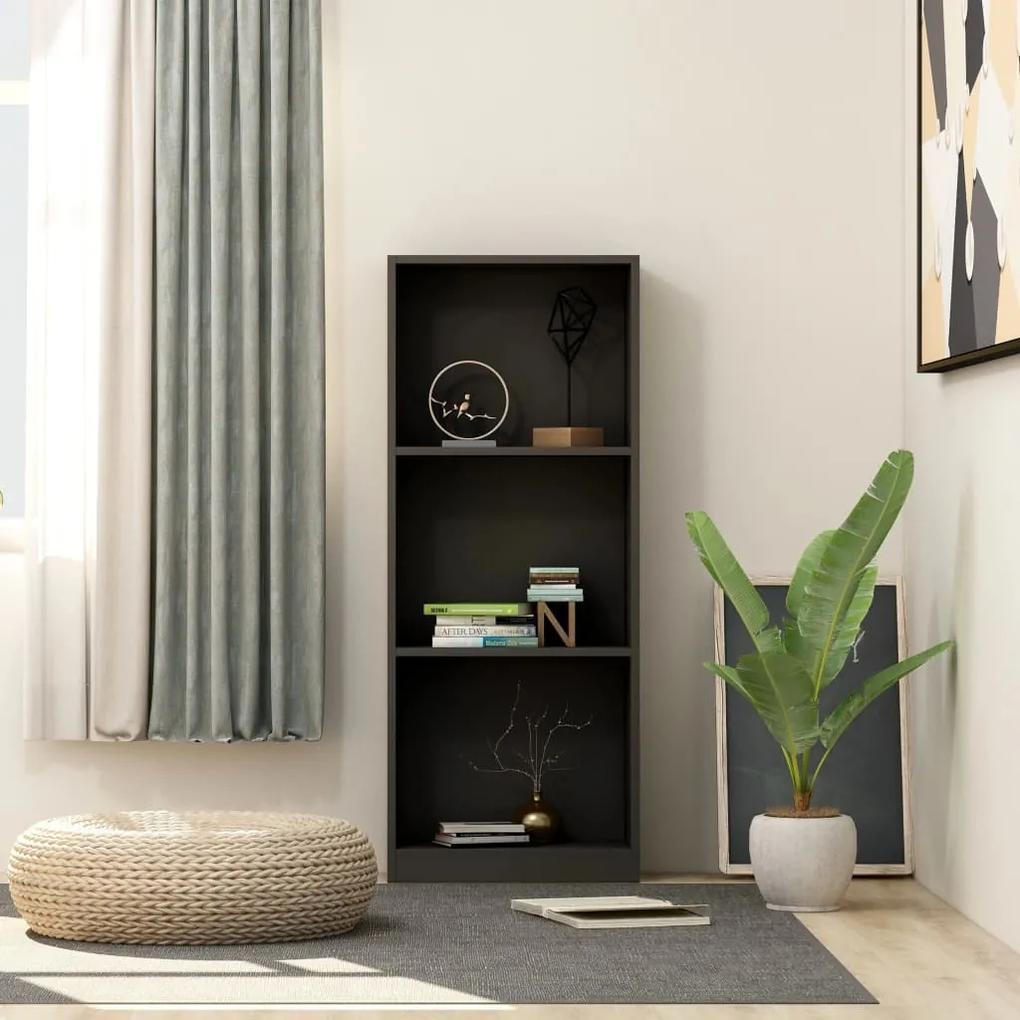 800829 vidaXL Bibliotecă cu 3 rafturi, negru, 40 x 24 x 108 cm, PAL
