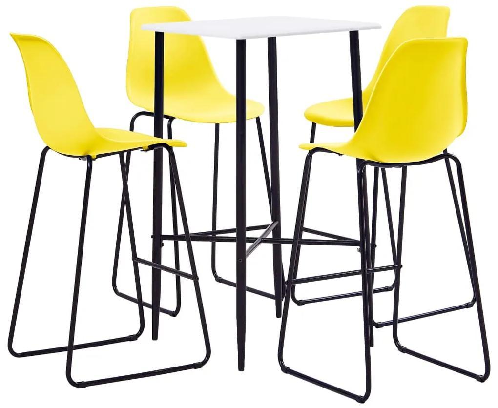 279981 vidaXL Set mobilier de bar, 5 piese, galben, plastic
