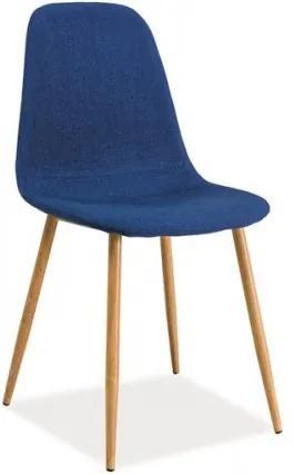 Scaun tapitat cu stofa, cu picioare metalice Fox Dark Blue / Oak, l44xA39xH86 cm