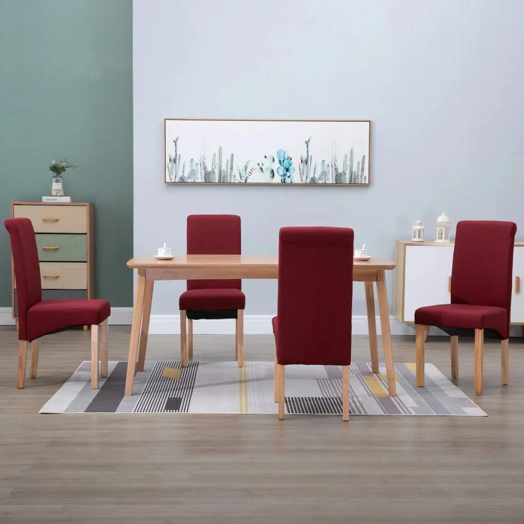 249036 vidaXL Scaune de sufragerie, 4 buc., roșu, material textil