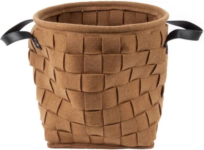 Coș pentru depozitare, cu mânere din piele, PT LIVING Storage, maro, 34 cm