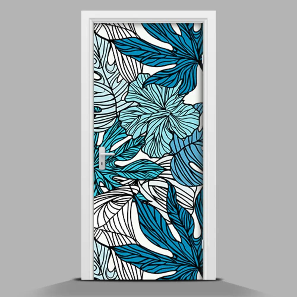 Autocolant de uși Flori albastre