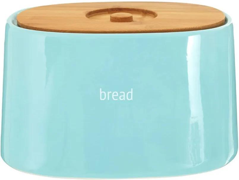 Recipient pentru pâine cu capac din lemn de bambus Premier Housewares Fletcher, 800 ml, albastru
