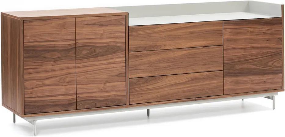 Bufet inferior maro/gri din lemn de nuc si metal 200 cm Valley Teulat