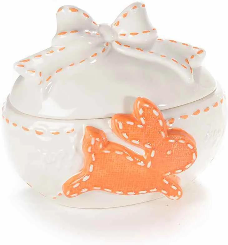 Ou Paste ceramica model Iepuras alb portocaliu cm 16 x 12 cm x 14 H