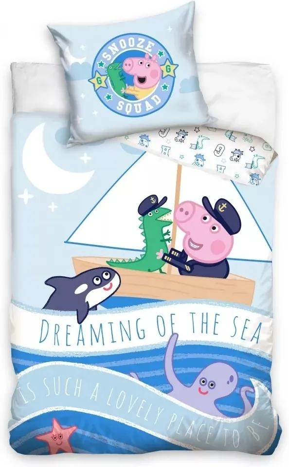Set lenjerie pat copii Peppa Pig Dreaming of the Sea 100x135 + 40x60 SunCity albastru
