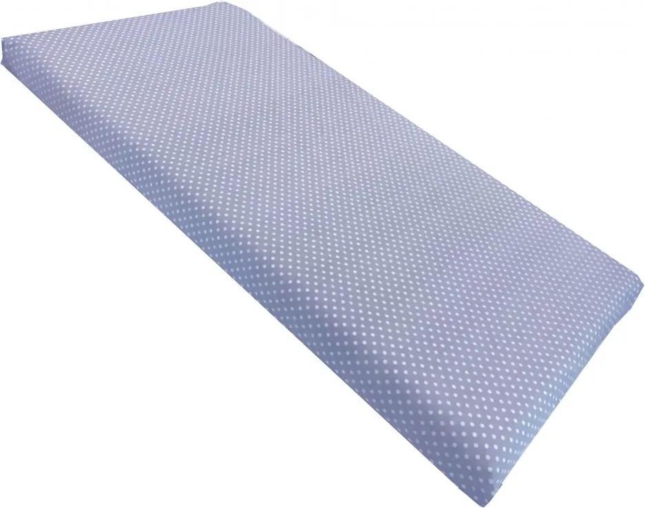 Cearsaf cu elastic pe colt 140x70 cm Buline albe pe albastru