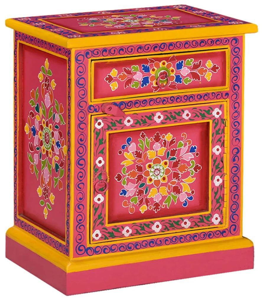 244835 vidaXL Noptieră din lemn masiv de mango, roz, pictată manual