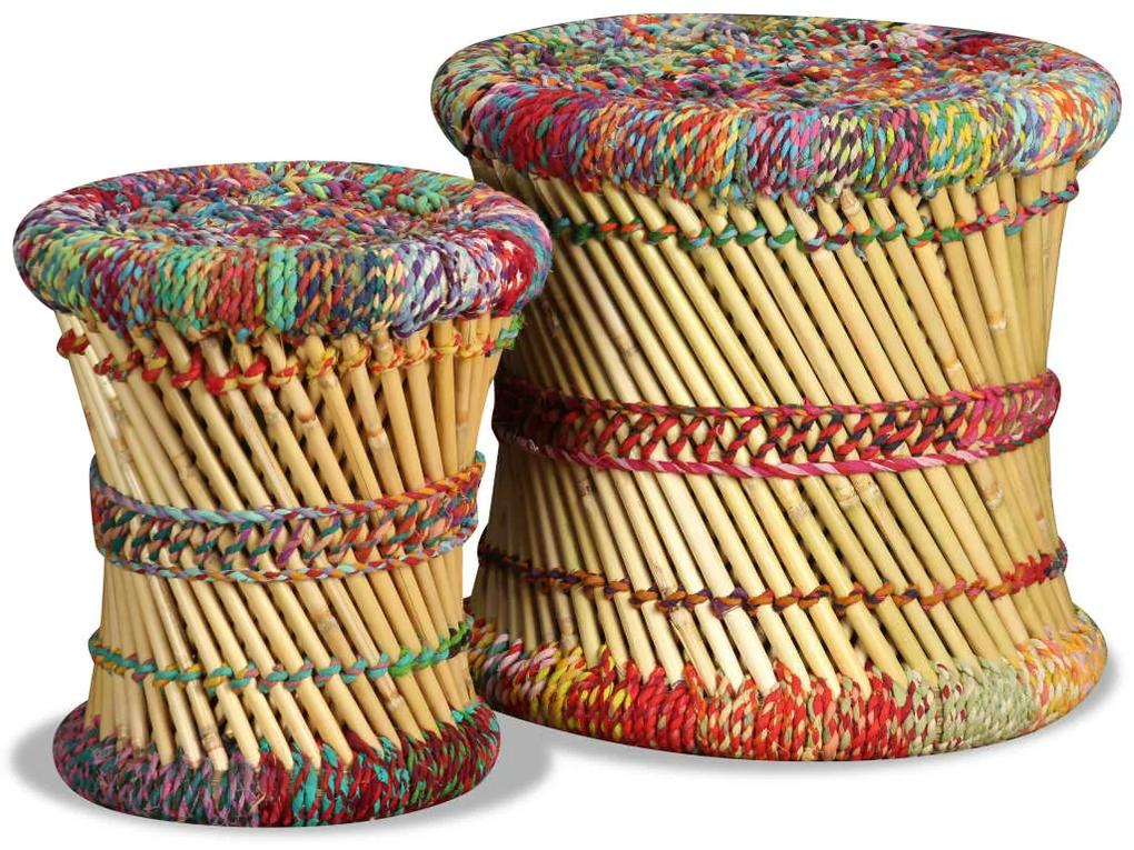 244216 vidaXL Taburete cu detalii Chindi, 2 buc., multicolor, bambus