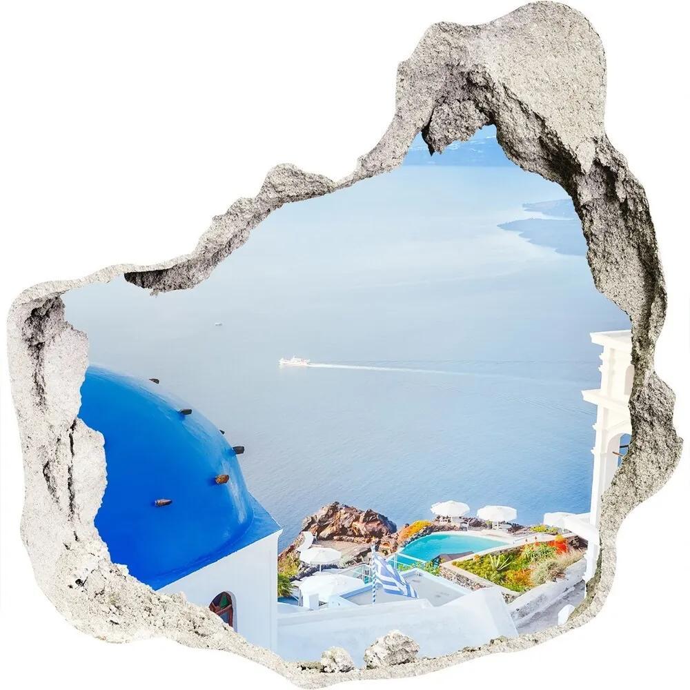 Fototapet un zid spart cu priveliște Santorini Grecia