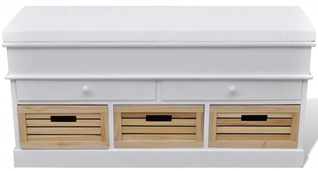 240806 vidaXL Bancă depozitare & intrare cu perne, 2 sertare, 3 lădițe, Alb