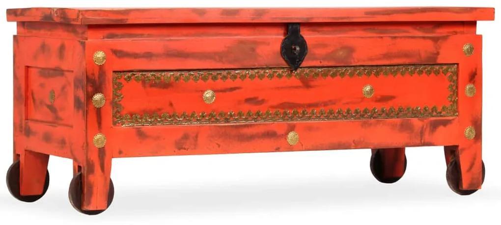 244949 vidaXL Cufăr din lemn solid de mango, 101 x 39 x 42 cm, roșu