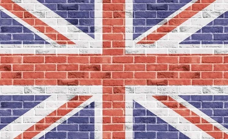 Brick Wall Union Jack Fototapet, (104 x 70.5 cm)