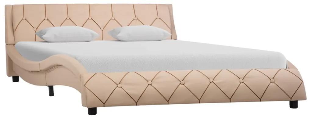 285662 vidaXL Cadru de pat, cappuccino, 120 x 200 cm, piele ecologică