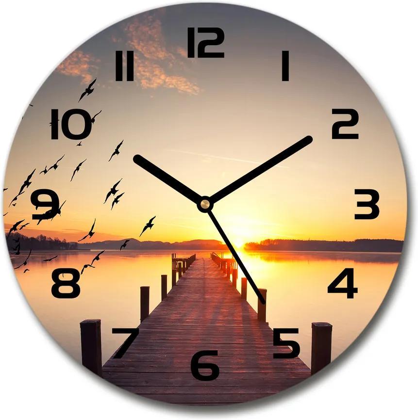 Ceas perete din sticlă rotund Apus de soare