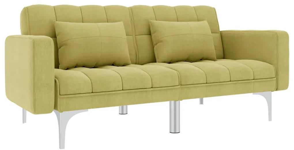 247217 vidaXL Canapea extensibilă, verde, material textil
