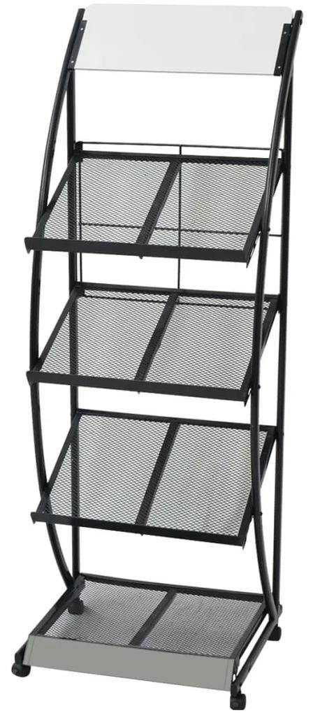 30099 vidaXL Raft reviste A4, 47 x 40 x 134 cm, negru și alb