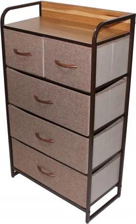 Comoda metalica cu 5 sertare,material textil,58x29x99 cm,maro