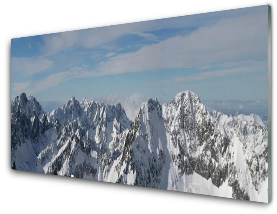 Tablou pe sticla acrilica Munții Peisaj Gri Alb