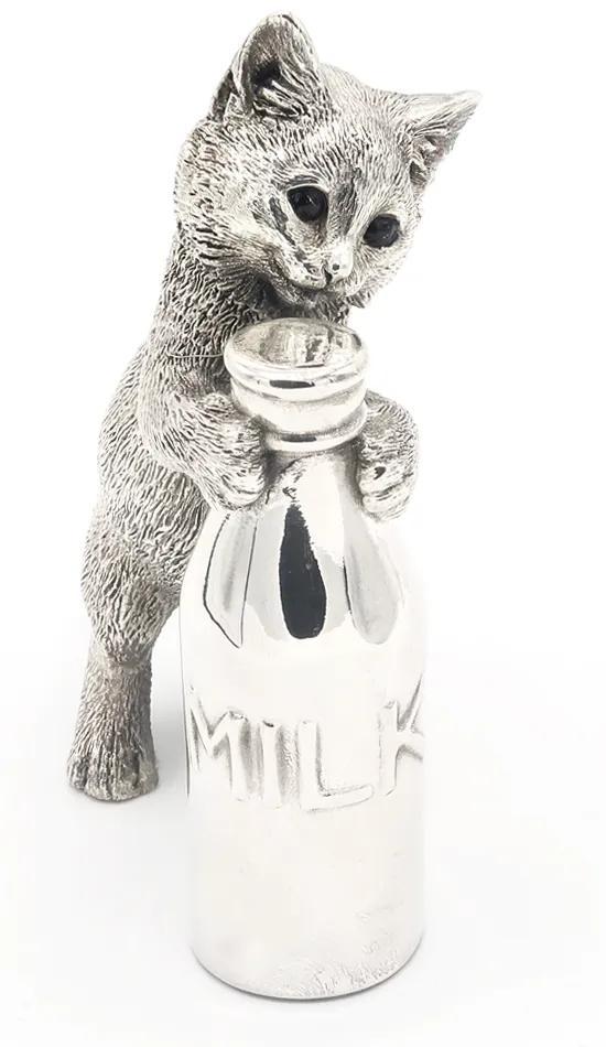 Decoratiune Pisica cu sticla de lapte  Portelan Argint