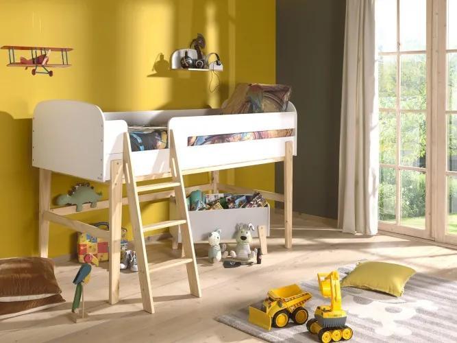Pat etajat din lemn de pin si MDF, pentru copii cu spatiu de joaca Kiddy Alb, 200 x 90 cm