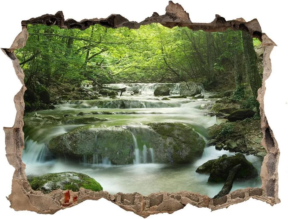 Autocolant gaură 3D Cascada din pădure