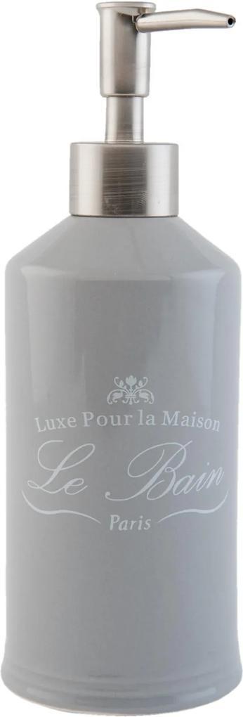 Dispenser ceramica gri pentru sapun Le Bain Ø 7x20 cm 0,35 L