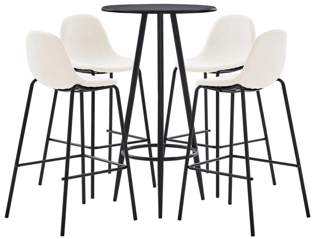 279749 vidaXL Set mobilier de bar, 5 piese, crem, material textil