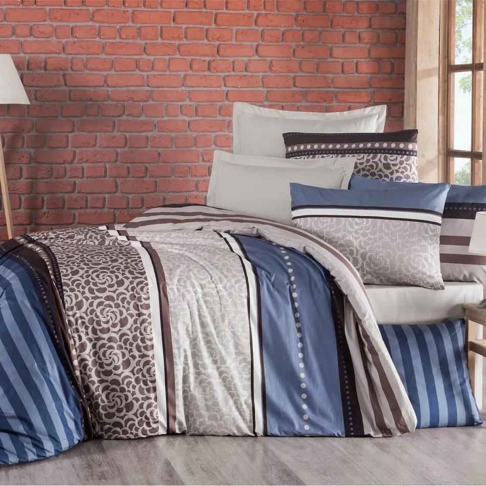 Lenjerie de pat, din bumbac, Delux Stripe, albastrum, 140 x 200 cm, 70 x 90 cm