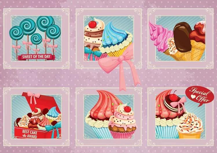 Cupcakes Pink Retro Fototapet, (208 x 146 cm)