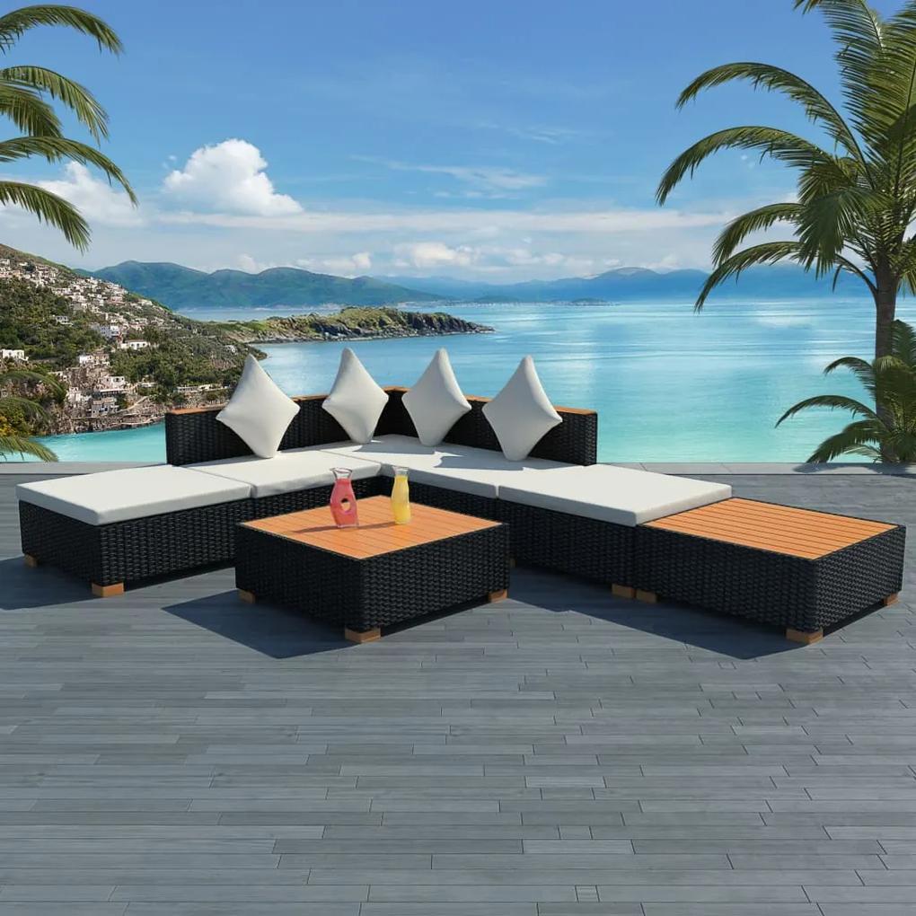 42757 vidaXL Set mobilier de grădină cu perne, 7 piese, negru, poliratan