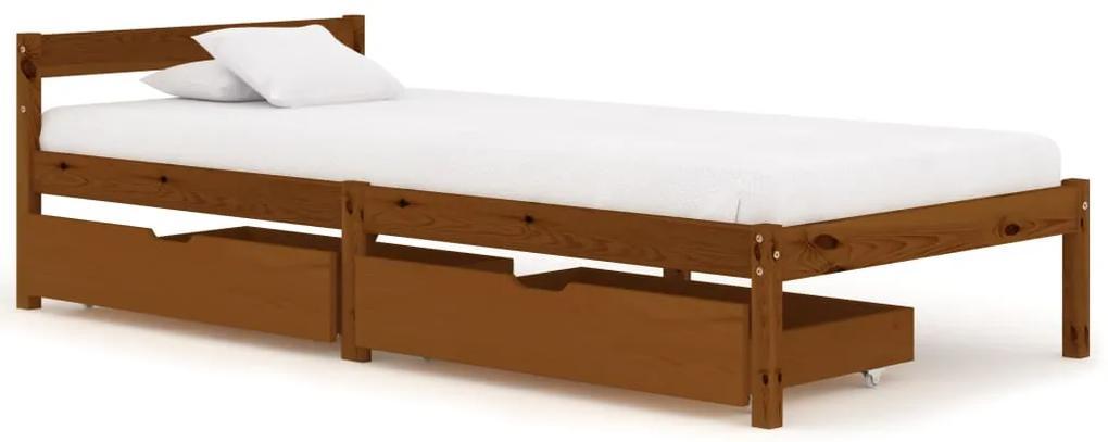 3060519 vidaXL Cadru de pat cu 2 sertare maro miere 90x200 cm lemn masiv pin