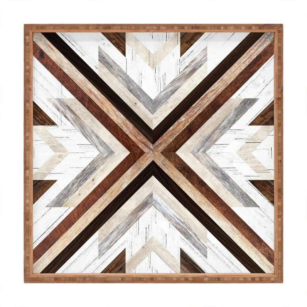 Tavă decorativă din lemn Intarzia, 40 x 40 cm