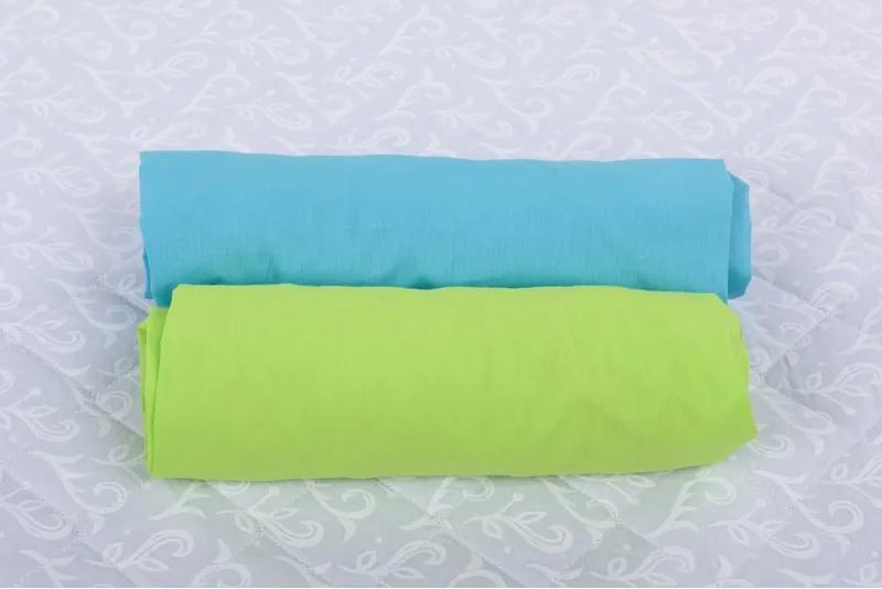 Set 2xCearceaf cu elastic pt patut de 140x 70 cm bleu+verde