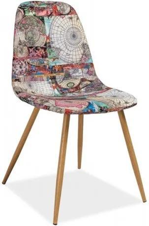 Scaun tapitat cu stofa, cu picioare metalice Citi Map Multicolour / Oak, l44xA38xH84 cm